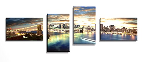 Bridge Canvas Wall Art Cityscape Night Brooklyn Modern Artwork Ready to Hang Large Size for Home Living Room Bedroom Office 4 Panels (Uk Tapestry Christmas Led)