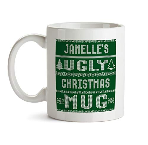 Janelle Ugly Green Christmas Mug Gift - AA120 Funny Gag Xmas Coffee Tea Cup For Women Custom Personalized Name Ceramic For Her Female Friend Office Coworker (Green Janelle)