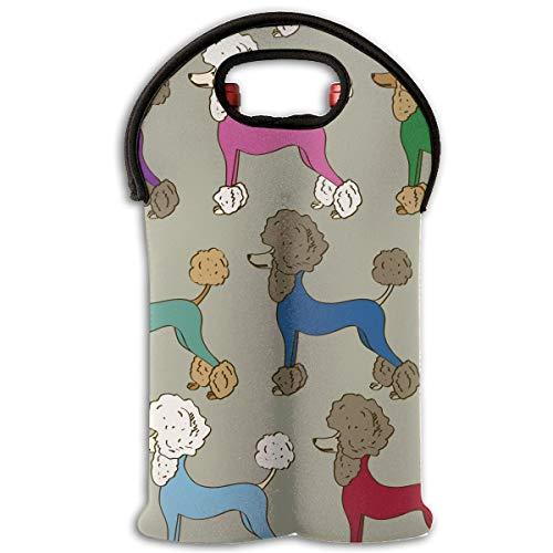 (HEHE TAN Colorful Poodle Dogs Wine Tote Carrier Bag Bottle Wine Tote Bag/Beer/Cans/Champagne/Water Or Drink Bottle Bag(2-Bottle))