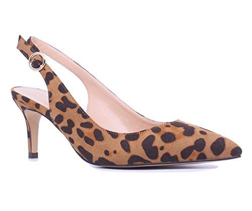 SUNETEDANCE Women's Slingback Pumps Pointed Toe Kitten Heels Sandals Slip On Stiletto Mid Heels Shoes, Suede Leopard, US8 B(M) US ()