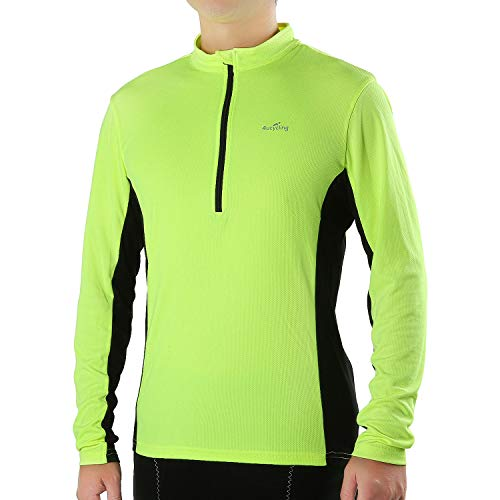 - 4ucycling Men's Long Sleeve Quick Dry Bike Jersey - US Size Breathable Basic Shirts Sports