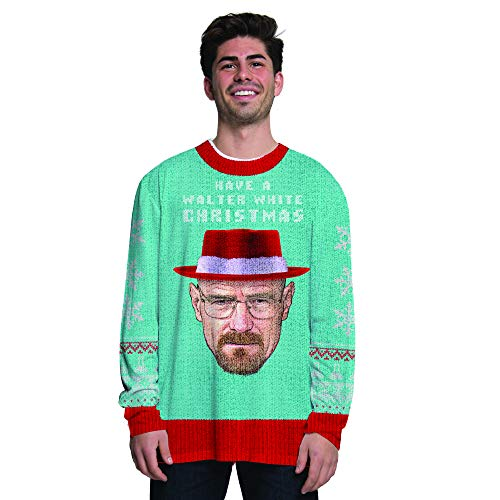 Faux Real Men's Sublimated Faux Christmas Licensed Long Sleeve T-Shirt, Breaking Bad Xmas, X-Large