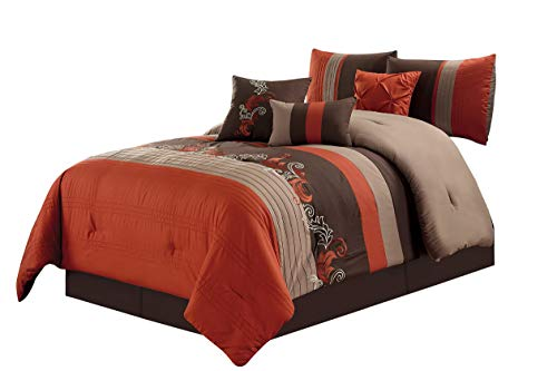 Hemau Premium New Soft Napa by 7-Piece Luxury Leaves Scroll Embroidery Bedding Comforter Set (California King, Rust Orange/Taupe/Brown)   Style 503194436