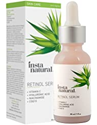 Retinol Serum - Anti Wrinkle Anti Aging Facial Serum - Helps Reduce Appearance of Puffiness, Wrinkles, Crows Feet & Fine Lines - Vitamin C and Hyaluronic Acid - InstaNatural - 1 OZ