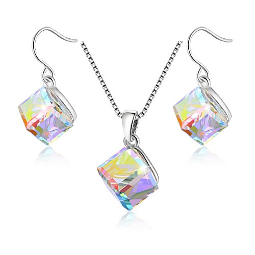 Kesaplan White 7mm-Square Crystal Jewlry Set With Allergen Free, Crystals From Swarovski by KesaPlan