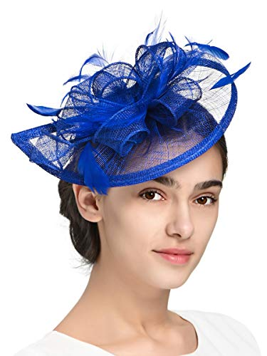 Fascinators Hat for Women Kentucky Derby Headband Wedding Mesh Feathers Tea Party Hair Clip (1-Royal)