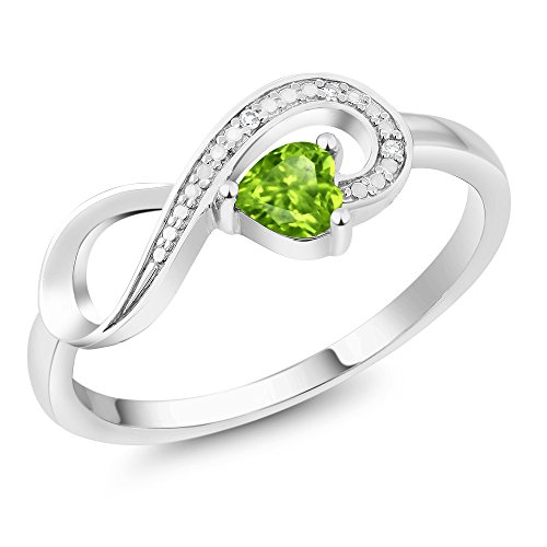 (Gem Stone King 10K White Gold Green Peridot and Diamond Women's Infinity Ring 0.28 Ctw Heart Shape (Size 8))