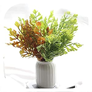 Memoirs- 5Pcs Artificial Plant Fake Leaves Green Grass Plant Artificial Grass Wedding Party Garden Fake Flowers Artificial Wreath Flower 9