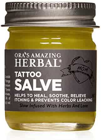 Tattoo Salve, Tattoo Aftercare, Tattoo Care, Tattoo Balm, Tattoo Lotion, No Dye, Paraben Free Tattoo Cream, Natural Tattoo Ointment, Made in The USA with Organic Ingredients, Ora's Amazing Herbal