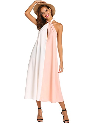 Sexyfree Women Halter Deep V Neck Dress Sexy Sleeveless Color Block Cocktail Party Long Maxi Dress(Pink,XL)