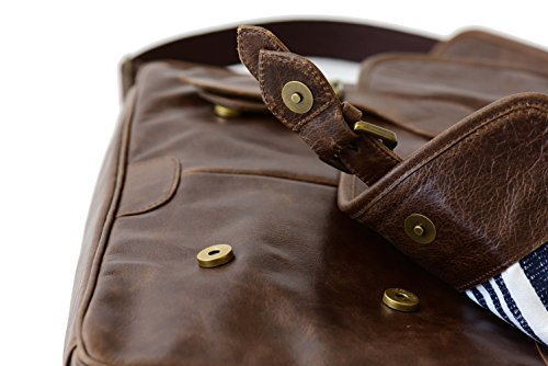 The Aartisan 16.5'' Vintage Pocketed Genuine Leather Messenger Laptop Briefcase (Brompton Cocoa) Shoulder Canvas Leather Satchel Bag Free Gift Included Multi Purpose Use by THE AARTISAN (Image #3)