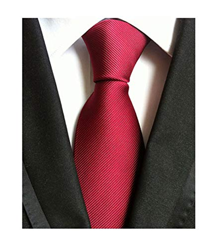 Men Dark Red Wedding Silk Ties Woven Tuxedo Necktie Creative Design Gift for Him