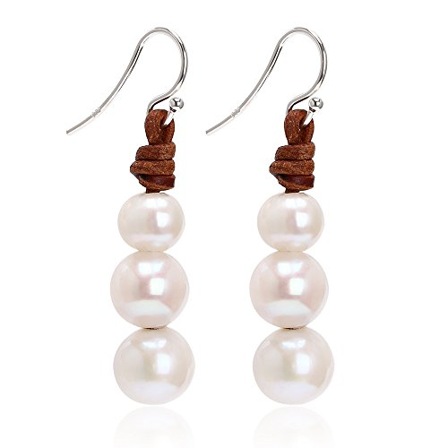 Cultured Freshwater Potato - Aobei Pearl S925 Sterling Silver Freshwater Cultured Potato Pearl Earrings Dangle for Women-Light Brown