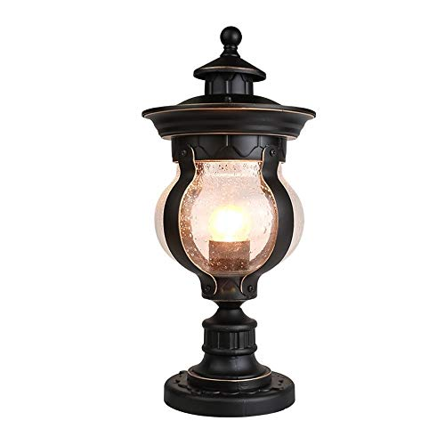 XAJGW Traditional Post Light Pier Mount Fixture Mediterranean Veranda Bronze Scroll Hammered Glass for Exterior Patio Porch House Deck Garden ()
