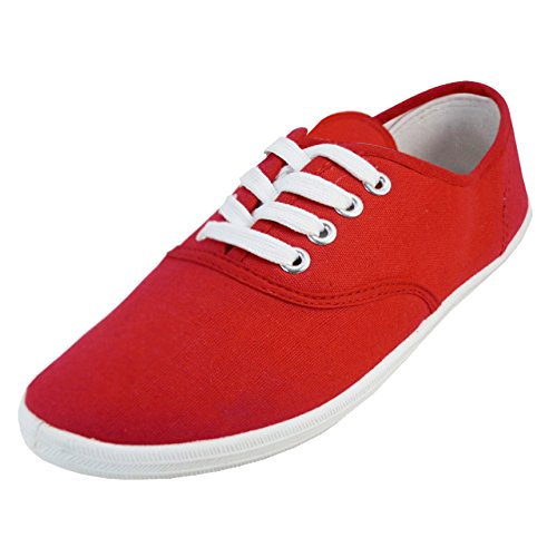 (Shoes 18 Womens Canvas Shoes Lace up Sneakers 18 Colors Available (9 B(M) US, Red)
