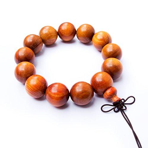 Tucanox Natural Dragon Blood Wood Round Rosary Bead Stretch Bracelet - 108 Japa Mala Beads Tibetan Buddhist Prayer Chain Necklace for Men & Women - 15 mm (15 beads)