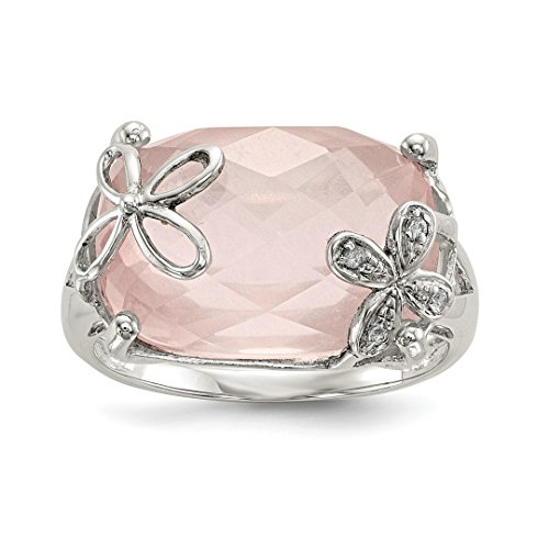 925 Sterling Silver Rose Quartz White Sapphire Band Ring Size 6.00 Stone Fine Jewelry For Women Gift Set (Faceted Quartz Oval Ring Smoky)