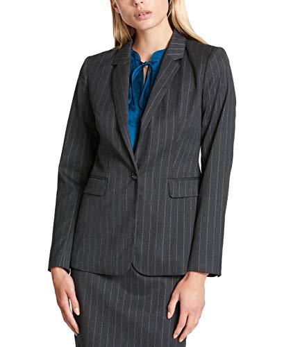 (DKNY Womens Pinstripe Blazer, Charcoal, 12)