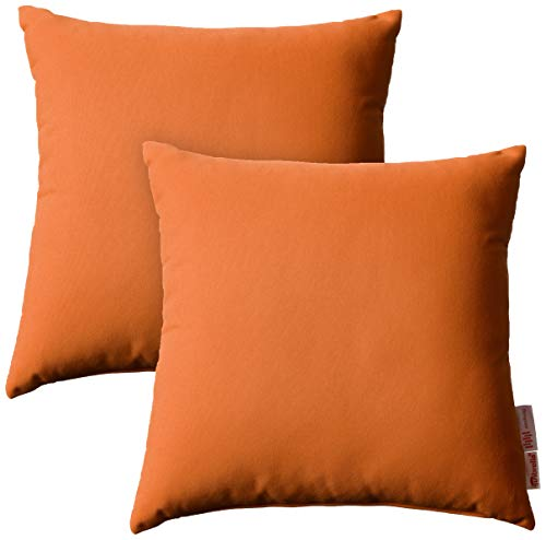 (Modway Summon 2 Piece Outdoor Patio Pillow Set With Sunbrella Brand Tuscan Orange Canvas Covers)