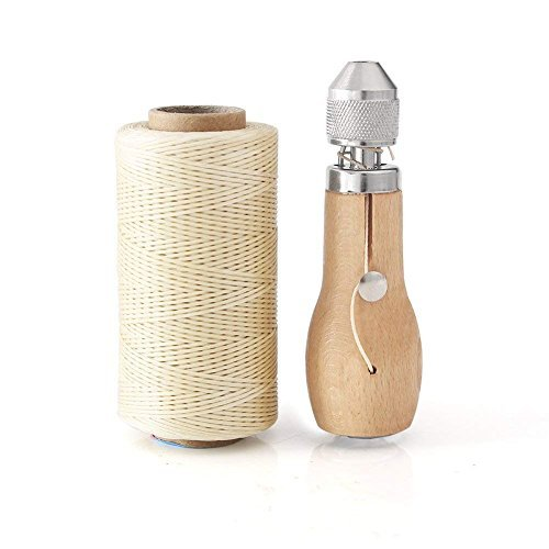 Professional Speedy Stitcher Sewing Awl Hand Stitcher Repair Tool Kit for Leather and Heavy Fabrics with 2Pcs Needles, 1Pcs Coil and 260 Meter 150D 0.8MM Flat Sewing Waxed String(Beige) SONGER