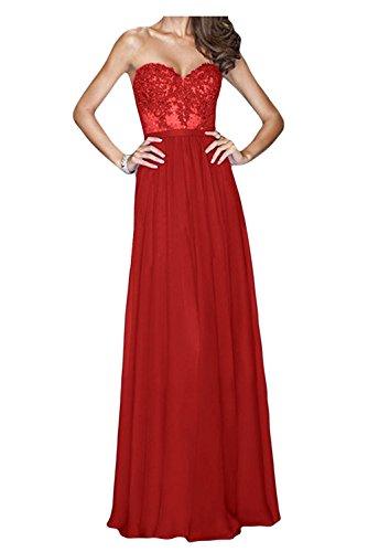 La Hell Rot Braut mia Lang Damen Herzausschnitt Cocktailkleider Chiffon Brautjungfernkleider Blau Partykleider Abendkleider rpr7g1P