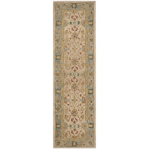 Safavieh Anatolia Collection AN580D Handmade Traditional Oriental Ivory and Blue Wool Runner (2'3
