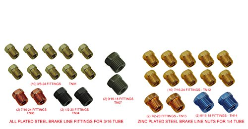 Standard SAE Inverted Flare Brake Line Fittings Nuts Assortment 3/16 1/4 Kit Set (J-2-8 + (Standard Flare)