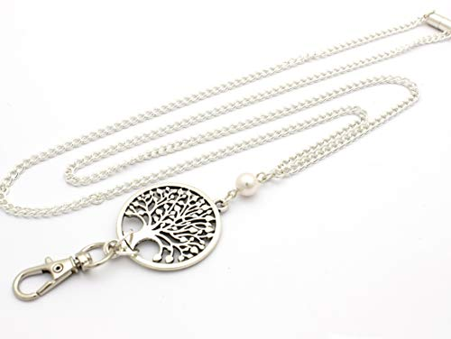 Women's Fashion Lanyard Necklace for ID Badge Holders 32 Inch w/Tree of Life and White Pearl and Rear Magnetic Break Away Clasp