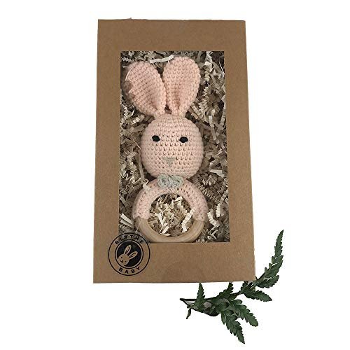 Teether Friendly - Crochet Baby Bunny Rattle and Baby Teether (Peach) | Cute Crochet Bunny Design | Safe and Environmentally Friendly | Boxed for Perfect Baby Gift