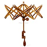 Nagina International's Yarn Swift Umbrella Table Top Yarn Winder | Hand Operated Ball Winder Holder | Knitting Tool for Swift Winding Lines, Laces Yarns & Fiber (Rosewood, X-Large): more info
