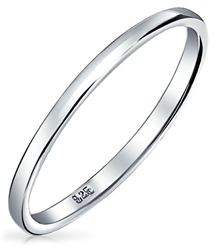 Simple Minimalist Thin Stackable 925 Sterling Silver Couples Wedding Band Rings For Men For Women 2MM ()