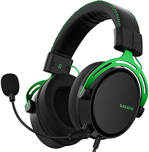 Soulsens Air SE Gaming Headset with 3-D Bass for PS5 PC PS4 Xbox Over-Ear Computer Headset with Noise Cancelling Mic, Ultra Light Soft Memory Earpads Gaming Headphones for Switch