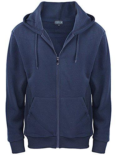 Running Hoodies for Mens / Long sleeve Training Full-zip Hoodie Jacket Navy Medium