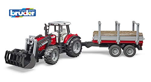 Bruder Toys Massey Ferguson 7480 with Frontloader and Timber Trailer