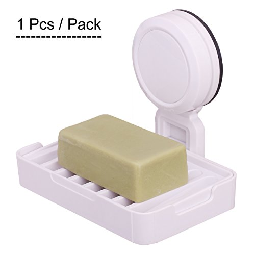 Price comparison product image OKOMATCH Super Suction Cup Soap Dish Holder Wall Mounted ABS Plastic Double Layer Sponge Tray For Bathroom & Kitchen - Detachable,Rectangular,White(1pcs/pack)