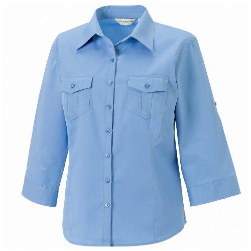 Russell Collection- Camisa de manga vuelta tres cuartos para mujer Negro