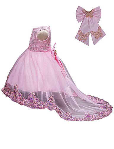 21KIDS Flower Girls Sequin Lace Tulle Dress Kids Wedding Princess Pageant Long Sleeve Dresses