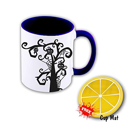Coffee Cup Halloween Office Coffee Mug Funny Ceramic Water Bottle Double Prints Drink and Gift Coaster Mat 11 oz Sea -