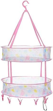 ピンクホーム衣類を使用してクリップを持つ乾燥バスケット折り畳み可能な旅行ハンギングドライヤー