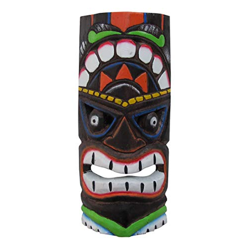 TG LLC Hand Carved Eyed Wood Tiki Head Mask 3D Tropical Bar Yard Luau Party Wall Decor ()