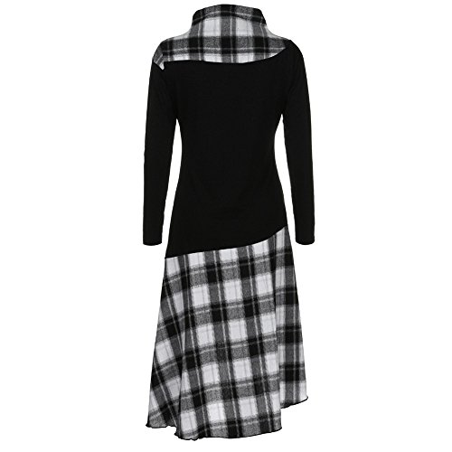 Black High Pattern Neck Dress TM Sleeve Women Dress Patchwork Long Binmer Plaid qnR7x1Pwg