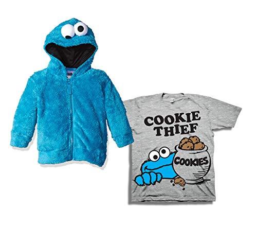 Sesame Street Hoodie Tee Set - 2 Pack of Sesame Street Hoodie and Tee - Elmo, Cookie Monster & Friends (Blue/Grey, ()