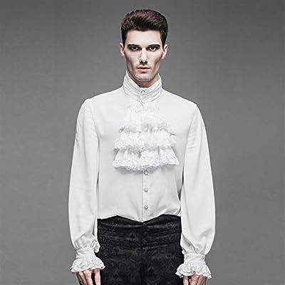 LHQ-HQ Camisa Delgada De Cuello Alto For Hombre De Primavera Y Otoño Camisa De Hombre Camisa De Marea Ropa gótica (Color : White, Size : XXXXL): Amazon.es: Deportes y aire libre