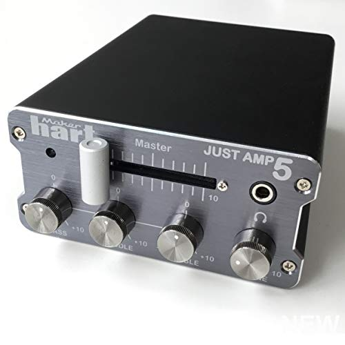 (Maker Hart Just Amp 5 - Compact Integrated Amplifier with Phono Preamp, 3-Band Active EQ, Send/Return Effects Loop - Mic Stand)