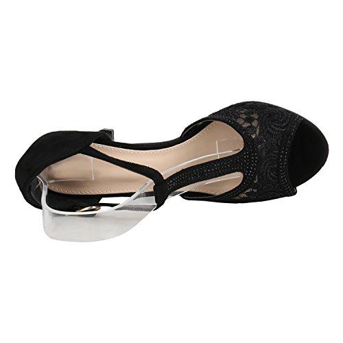 Stiefelparadies Damen Riemchensandaletten Strass Sandaletten Stilettos High Heels Party Schuhe Glitzer Lack Mid Heel Sandalen Flandell Schwarz Spitze Strass