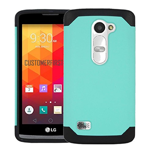 Customerfirst - For LG Leon LTE / Power L22C (TracFone / NET10) / Destiny L21G (StraightTalk) Case, Dual Layer Armor Protector Slim Hybrid Armor Case - Free Flash Light Key Chain (TEAL (Power Lcd Flash Keychain)