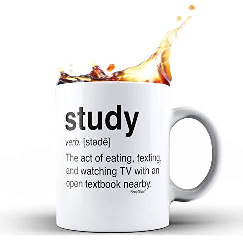 Shop4Ever Study Definition Novelty Ceramic Coffee Mug Tea Cup Funny Graduation Gift (White, 11 oz.)