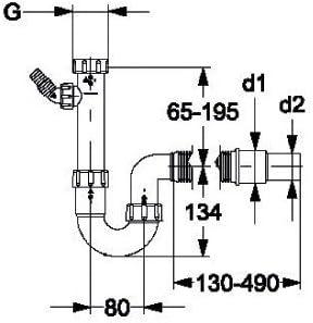 Haas hS2805 siphon 1 1//2 avec embout flexible