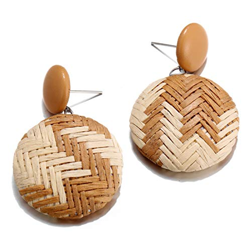(IUTING Grass Knitted Round Drop Earrings Fashion Jewelry Boho Handmade Black White Plaid Pattern Geometric Earrings )