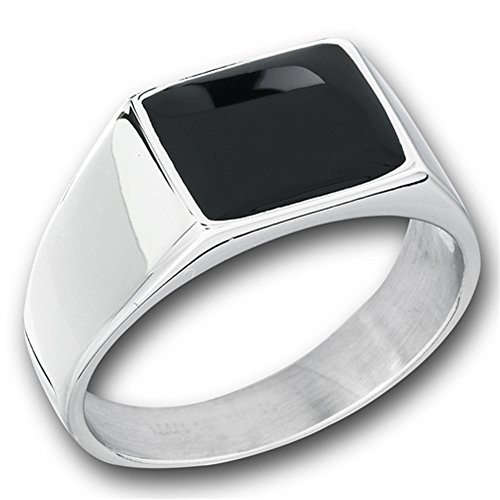 Men's Simulated Black Onyx Rectangle Wholesale Ring New Stainless Steel Band Size 13